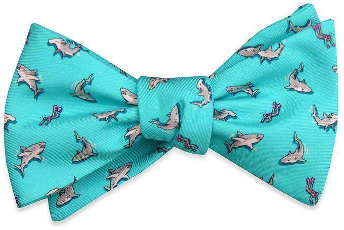 Bow Ties - Shark Week Bow Tie In Turquoise By Bird Dog Bay