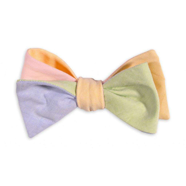 Spring Four Way Bow Tie in Blue, Yellow, Pink, and Green Linen by High Cotton