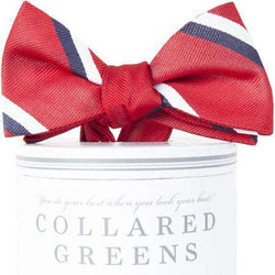 The George Bow Tie in Red and Navy by Collared Greens