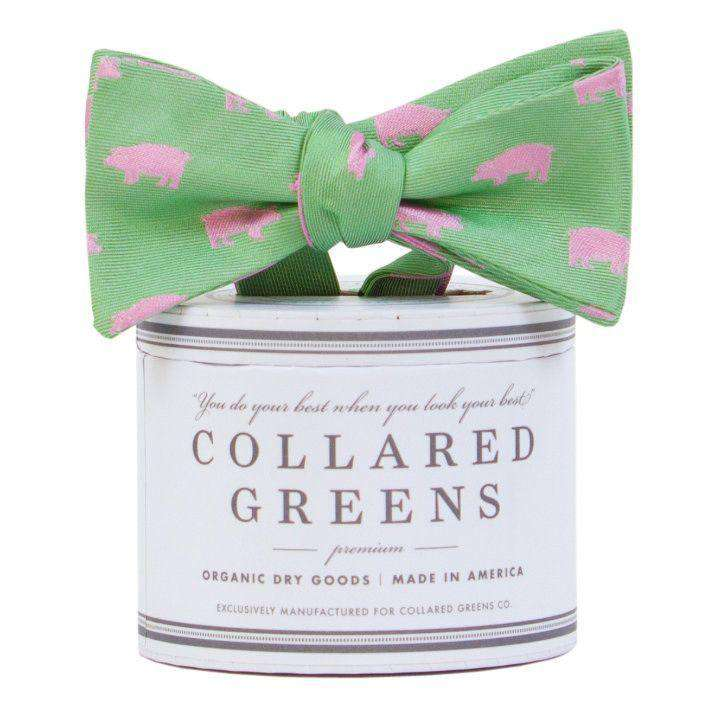 The Pig Bow Tie in Green/Pink by Collared Greens