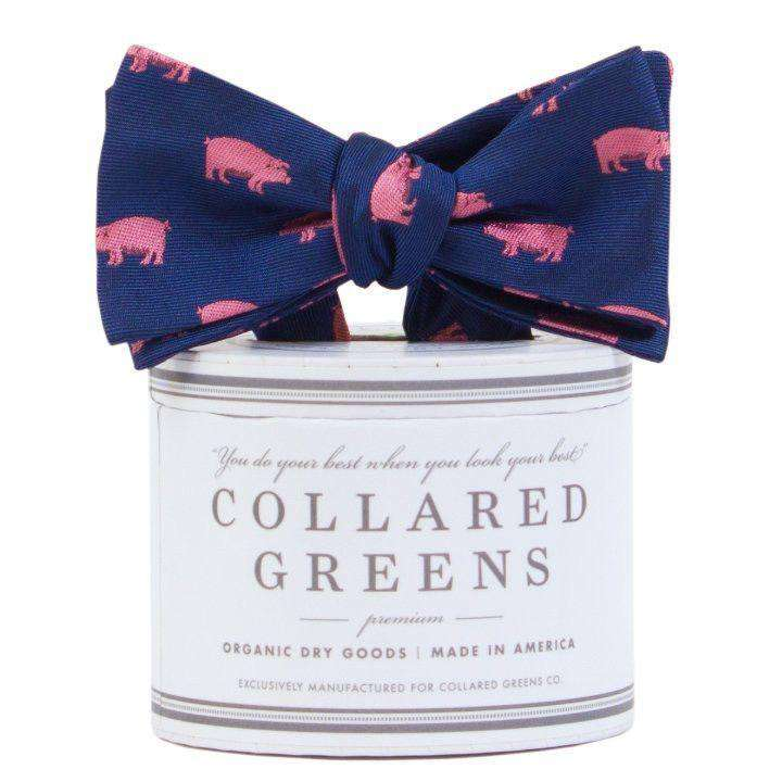 Bow Ties - The Pig Bow Tie In Navy/Pink By Collared Greens