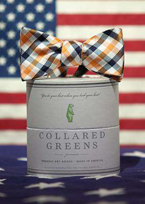 The Quad Bow in Orange/Navy by Collared Greens