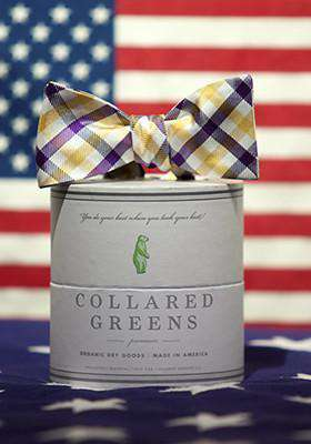 Bow Ties - The Quad Bow In Yellow/Purple By Collared Greens
