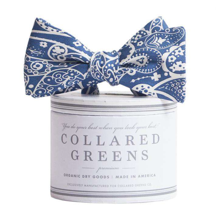 Bow Ties - The Seaside Paisley Bow In Navy By Collared Greens