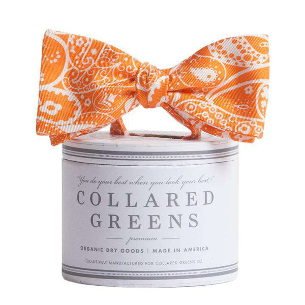 The Seaside Paisley Bow in Orange by Collared Greens