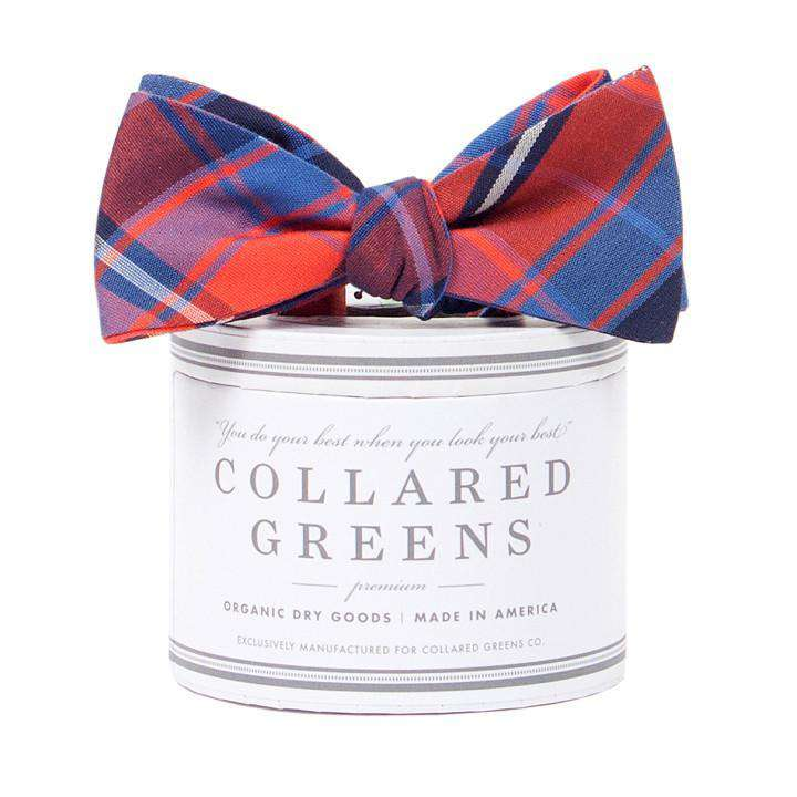 The Spyglass Plaid Bow in Blue and Red by Collared Greens