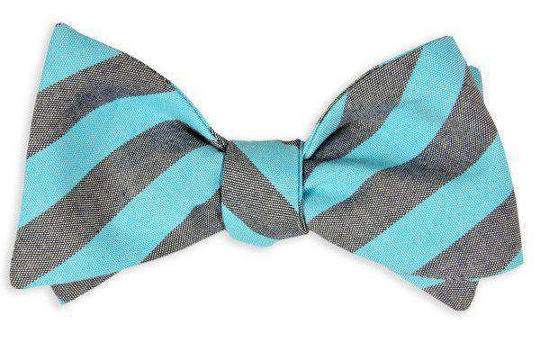 Bow Ties - Turquoise And Navy Oxford Stripe Bow Tie By High Cotton