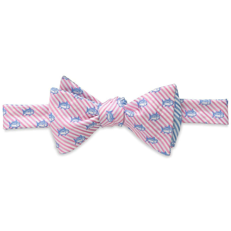 Bow Ties - Two Color Skipjack Seersucker Bow Tie In Pink And Ocean Channel By Southern Tide