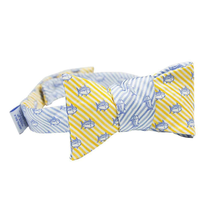 Bow Ties - Two Color Skipjack Seersucker Bow Tie In Sunglow And Ocean Channel By Southern Tide