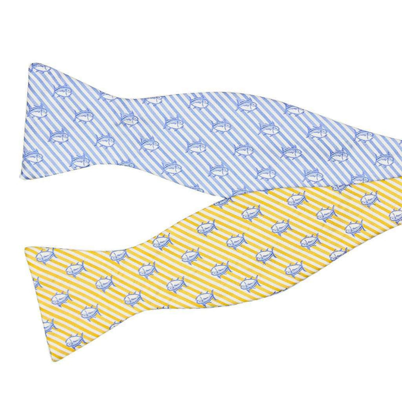 Two Color Skipjack Seersucker Bow Tie in Sunglow and Ocean Channel by Southern Tide