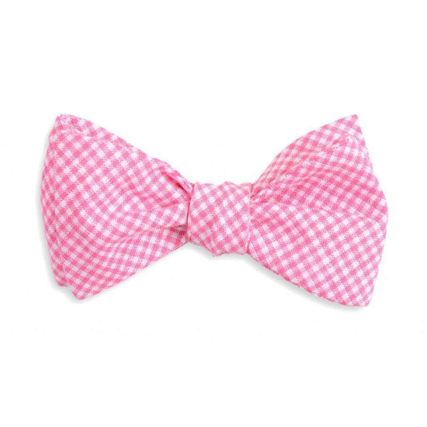Bow Ties - Watermelon Linen Gingham Bow Tie In Pink By High Cotton