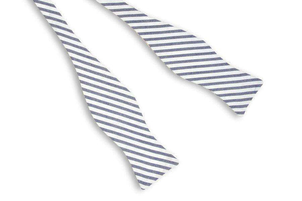 Bow Ties - Wide Navy Blue Seersucker Stripe Bow Tie By High Cotton