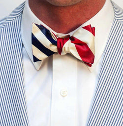 Bow Ties - Yacht Club Burgee Reversible Bow Tie In Navy And Red By Social Primer