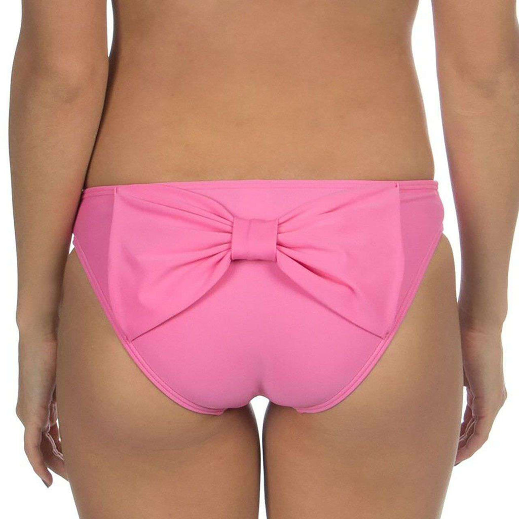 Solid Bow Back Hipster Bikini Bottoms in Pink by Lauren James  - 1