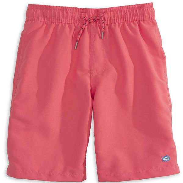 Boy's Swimsuits - Boy's Solid Swim Trunk In Sunset By Southern Tide