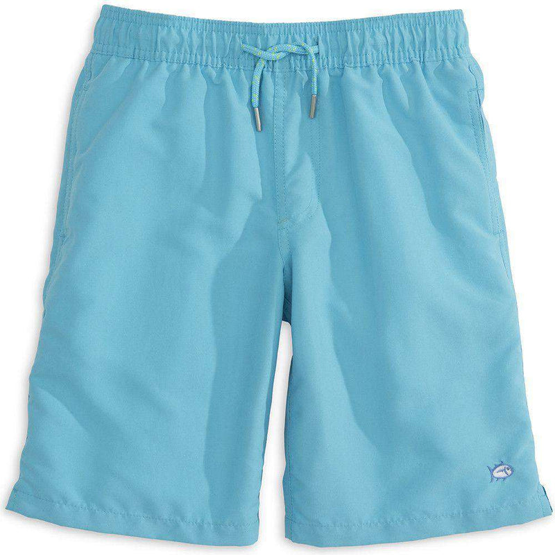 Boy's Swimsuits - Boy's Solid Swim Trunk In Turquoise By Southern Tide