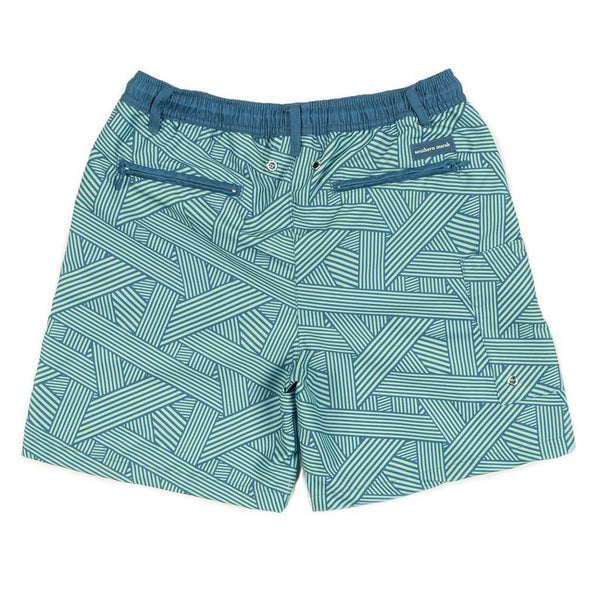 YOUTH Fractured Lines Dockside Swim Trunk in Slate & Mint by Southern Marsh - FINAL SALE