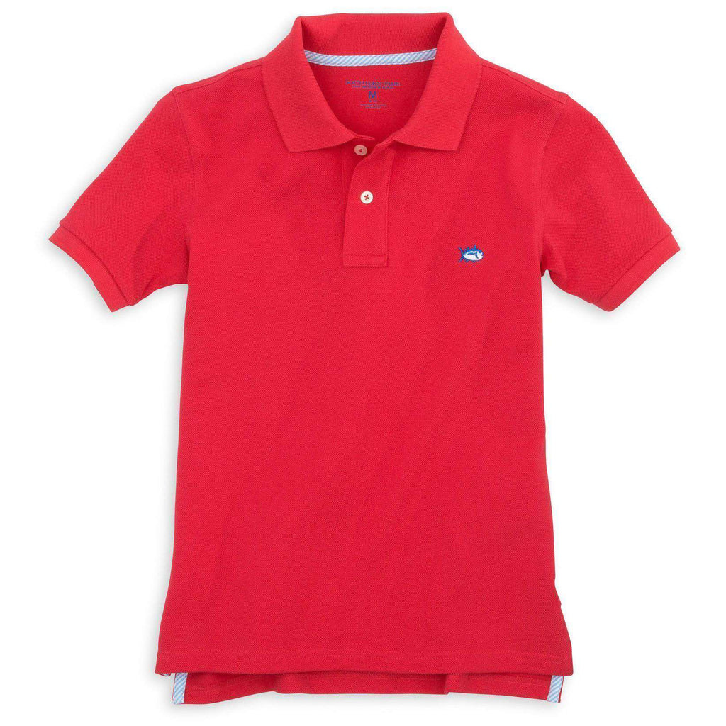 Boy's Skipjack Polo in Channel Marker Red by Southern Tide  - 1