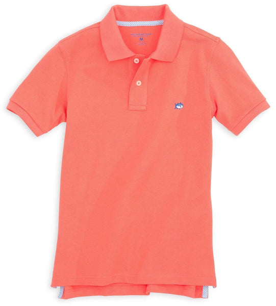 Boy's Skipjack Polo in Nautical Orange by Southern Tide  - 1