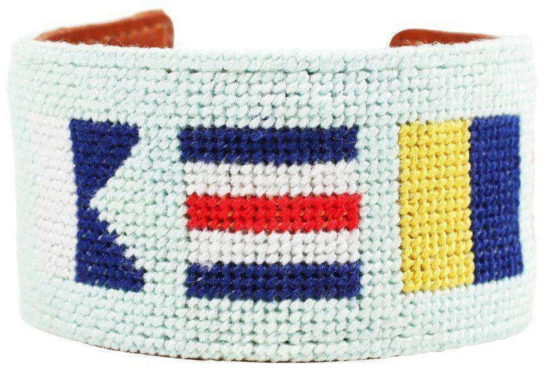ACK Nautical Flags Needlepoint Cuff Bracelet by York Designs - Country Club Prep
