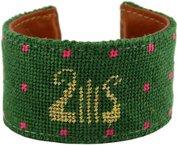 Alpha Chi Omega Lyre Needlepoint Cuff Bracelet by York Designs - Country Club Prep