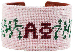 Bracelets - Alpha Phi Needlepoint Cuff Bracelet In Light Pink By York Designs - FINAL SALE