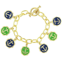 Bracelets - Anchors Aweigh Bracelet In Navy And Green By Pink Pineapple