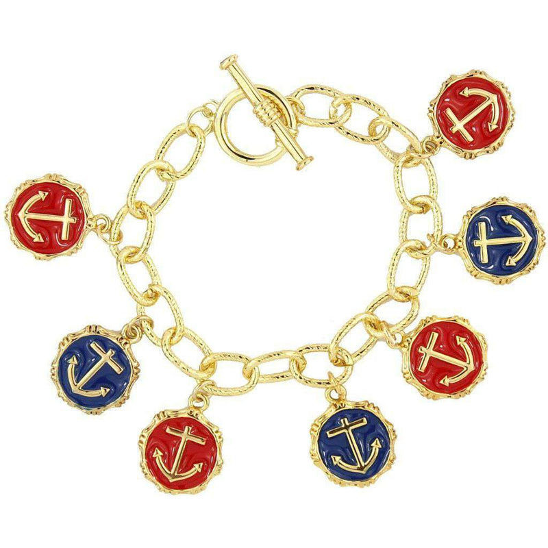 Bracelets - Anchors Aweigh Bracelet In Navy And Red By Pink Pineapple - FINAL SALE