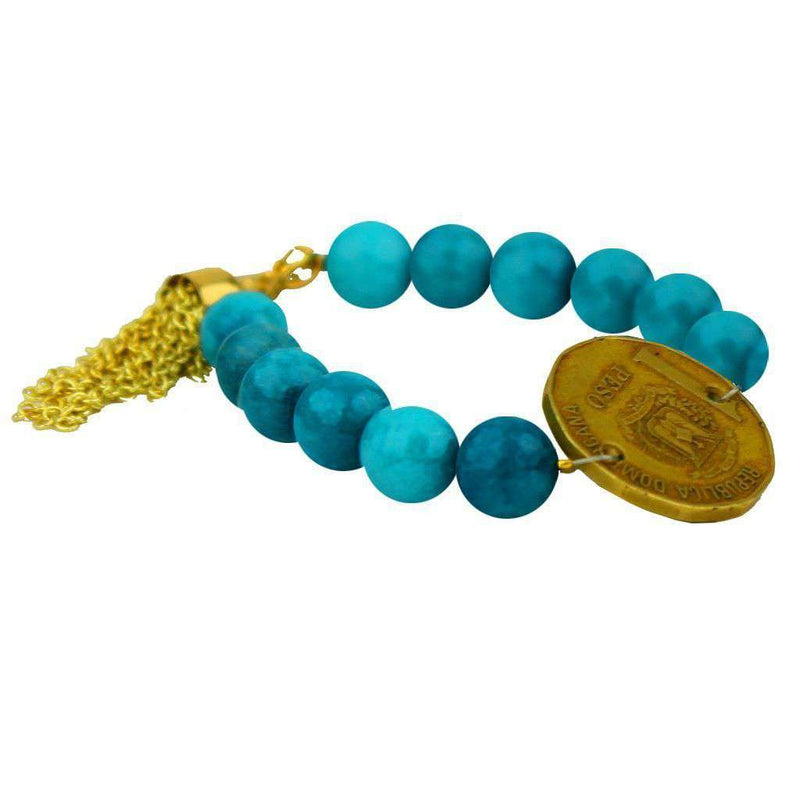 Bracelets - Beaded Bracelet With Coin And Gold Tassel In Mediterranean Blue By Bourbon And Bowties