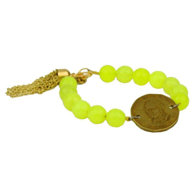 Bracelets - Beaded Bracelet With Coin And Gold Tassel In Neon Lime Yellow By Bourbon And Bowties