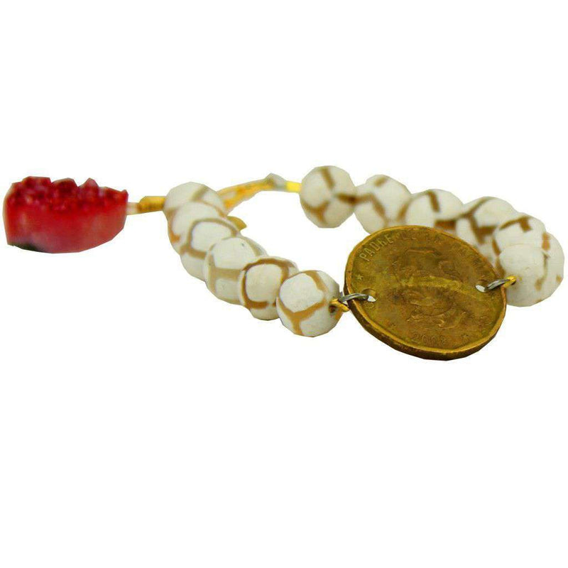Bracelets - Beaded Bracelet With Coin And Red Stone In White And Clear By Bourbon And Bowties
