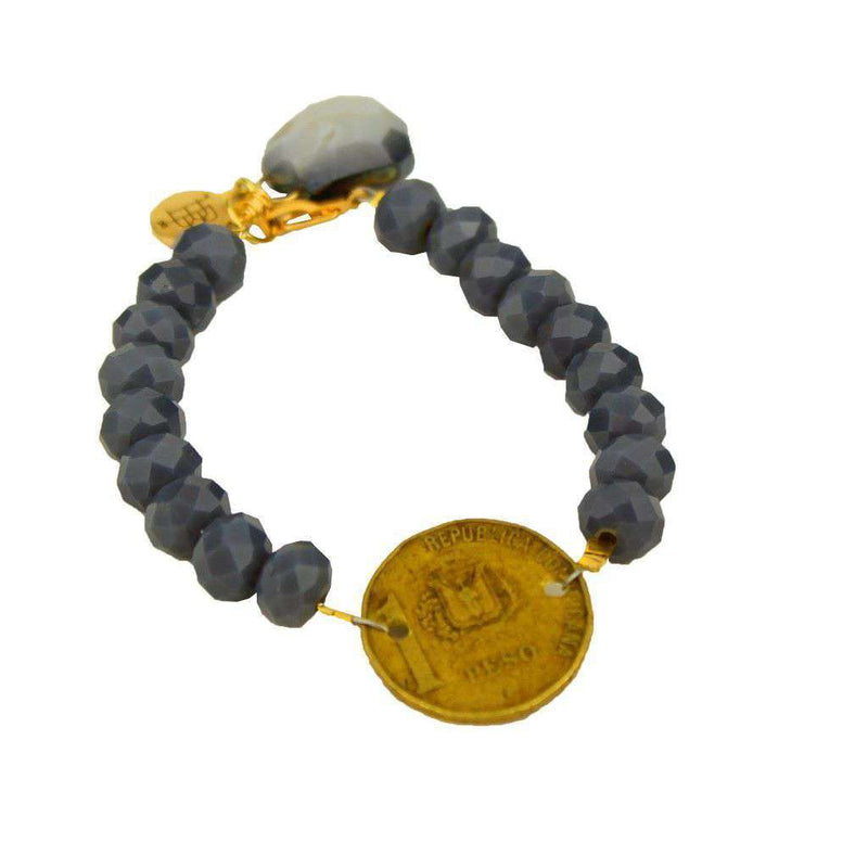 Bracelets - Beaded Bracelet With Coin And Stone In Jet Grey By Bourbon And Boweties