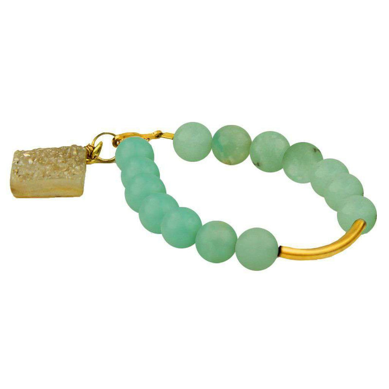 Bracelets - Beaded Bracelet With Gold Bar And Clear Stone In Turquoise By Bourbon And Bowties