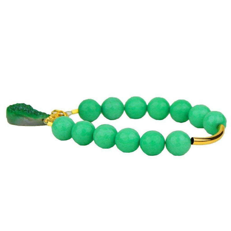Bracelets - Beaded Bracelet With Gold Bar And Green Stone In Turquoise By Bourbon And Bowties
