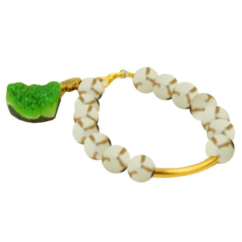 Bracelets - Beaded Bracelet With Gold Bar And Green Stone In White And Clear By Bourbon And Bowties
