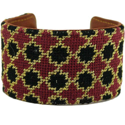 Bracelets - Black And Maroon Quatrafoil Needlepoint Cuff Bracelet By York Designs - FINAL SALE
