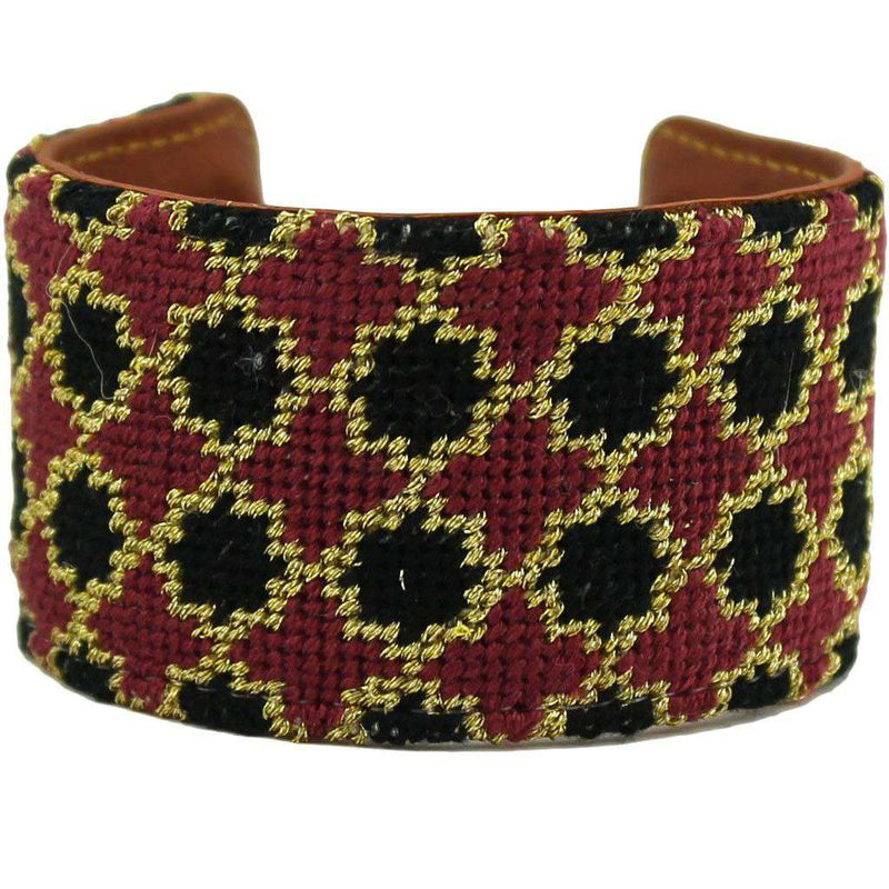 Black and Maroon Quatrafoil Needlepoint Cuff Bracelet by York Designs - Country Club Prep