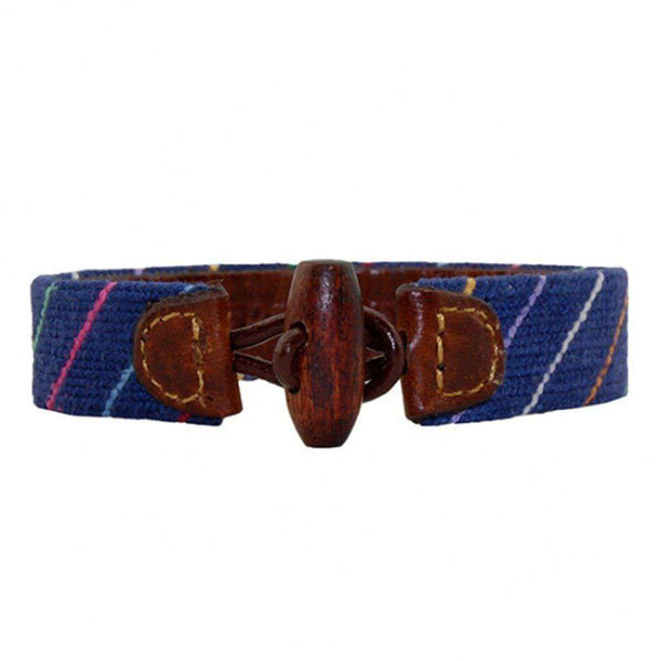 Carter Stripe Needlepoint Bracelet in Classic Navy by Smathers & Branson