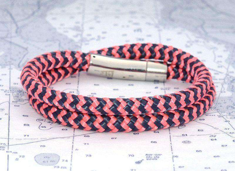 Bracelets - Chatham Chevron Wrap Bracelet In Pink And Navy By Lemon & Line