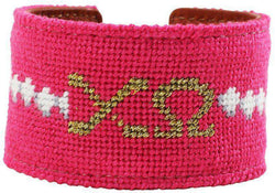 Chi Omega Needlepoint Cuff Bracelet in Fuchsia by York Designs - Country Club Prep