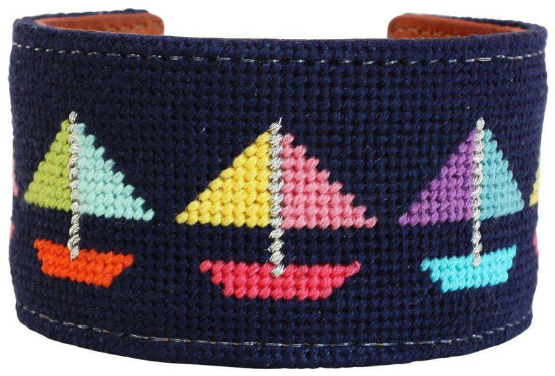 Come Sail Away Needlepoint Cuff Bracelet in Navy by York Designs - Country Club Prep
