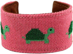 Delta Zeta Turtles Needlepoint Cuff Bracelet by York Designs - Country Club Prep