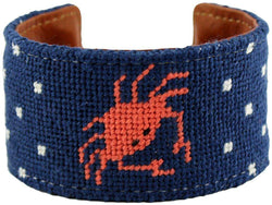 Bracelets - Don't Be Crabby Needlepoint Cuff Bracelet In Orange By York Designs