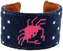 Bracelets - Don't Be Crabby Needlepoint Cuff Bracelet In Pink By York Designs