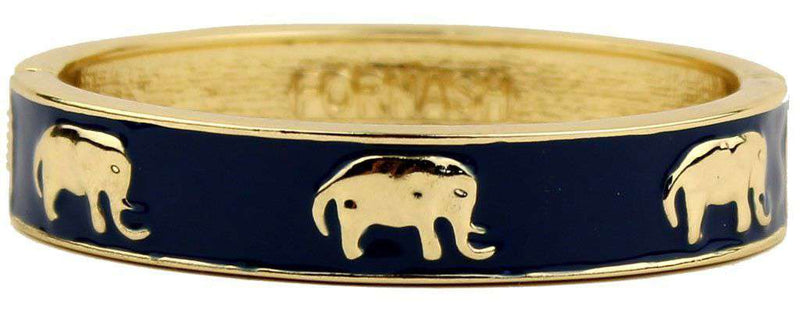 Bracelets - Elephant Bangle In Gold And Navy By Fornash