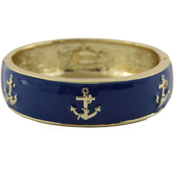 Bracelets - Enameled Anchor Cuff Bracelet In Navy By Pink Pineapple