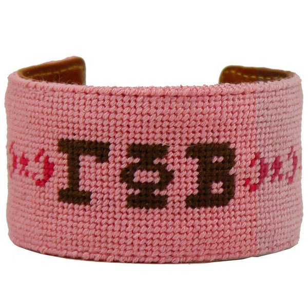 Gamma Phi Beta Needlepoint Cuff Bracelet in Pink by York Designs - Country Club Prep