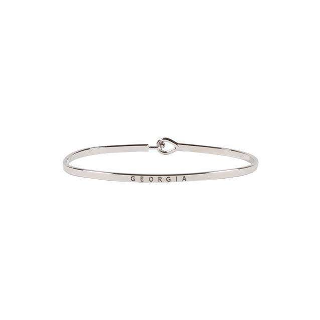 Georgia Engraved Brass Hook Bracelet in Silver by Country Club Prep