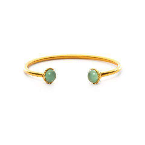 Bracelets - Gigi Open Bangle In Aqua Chalcedony And Gold By Julie Vos - FINAL SALE