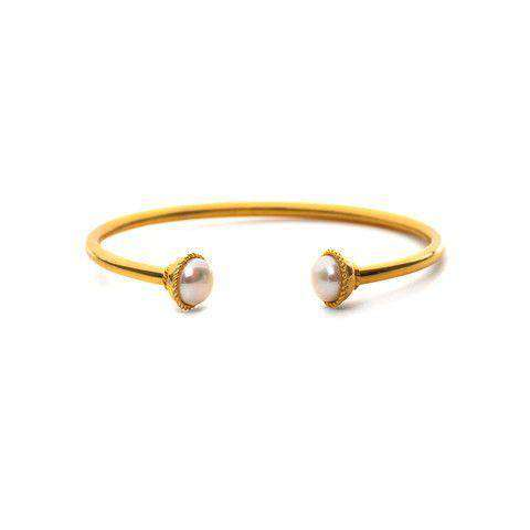 Bracelets - Gigi Open Bangle In Gold And Pearl By Julie Vos